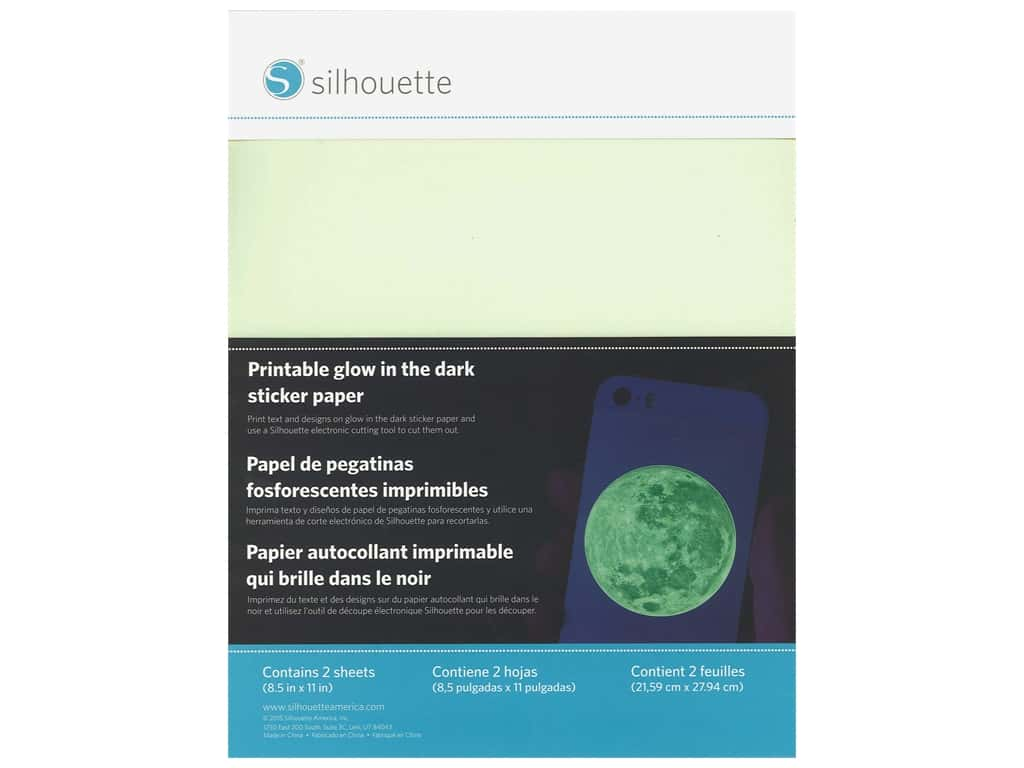 Silhouette Printable Sticker Paper 8.5 in. x 11 in. Glow In The Dark 2 pc