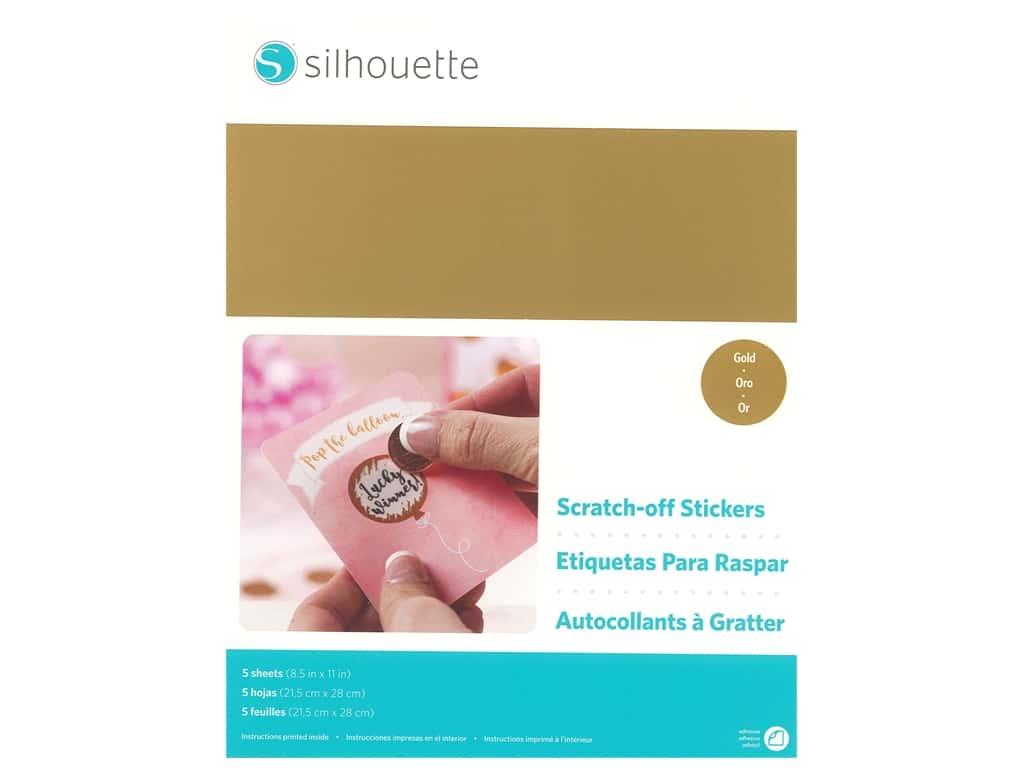 Silhouette Printable Sticker Paper 8.5 in. x 11 in. Scratch Off Gold 5 pc