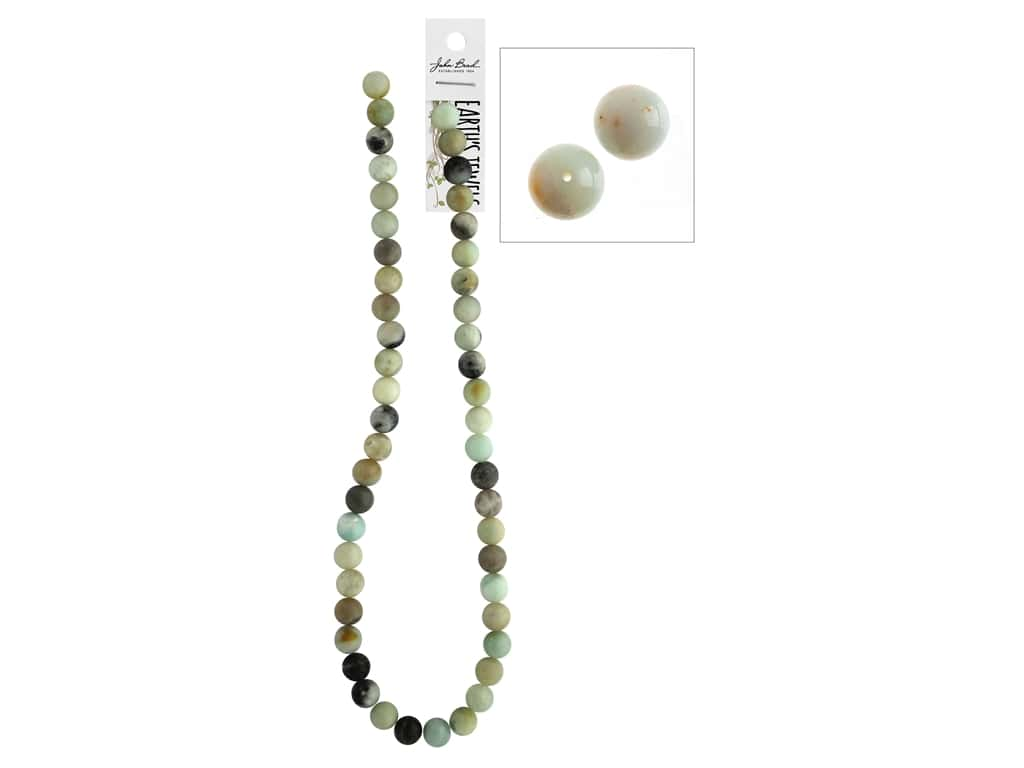 John Bead Semi-Precious 16 in. 8 mm Round Amazonite Natural