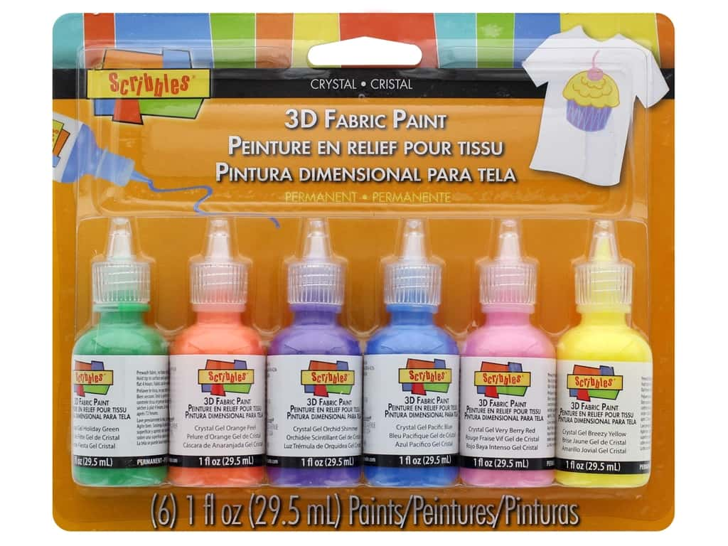 Scribbles Dimensional Fabric Paint Set 6 pc. Crystals