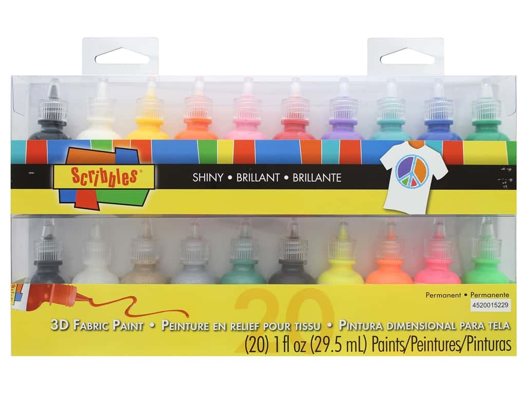 Scribbles Dimensional Fabric Paint Set 20 pc.