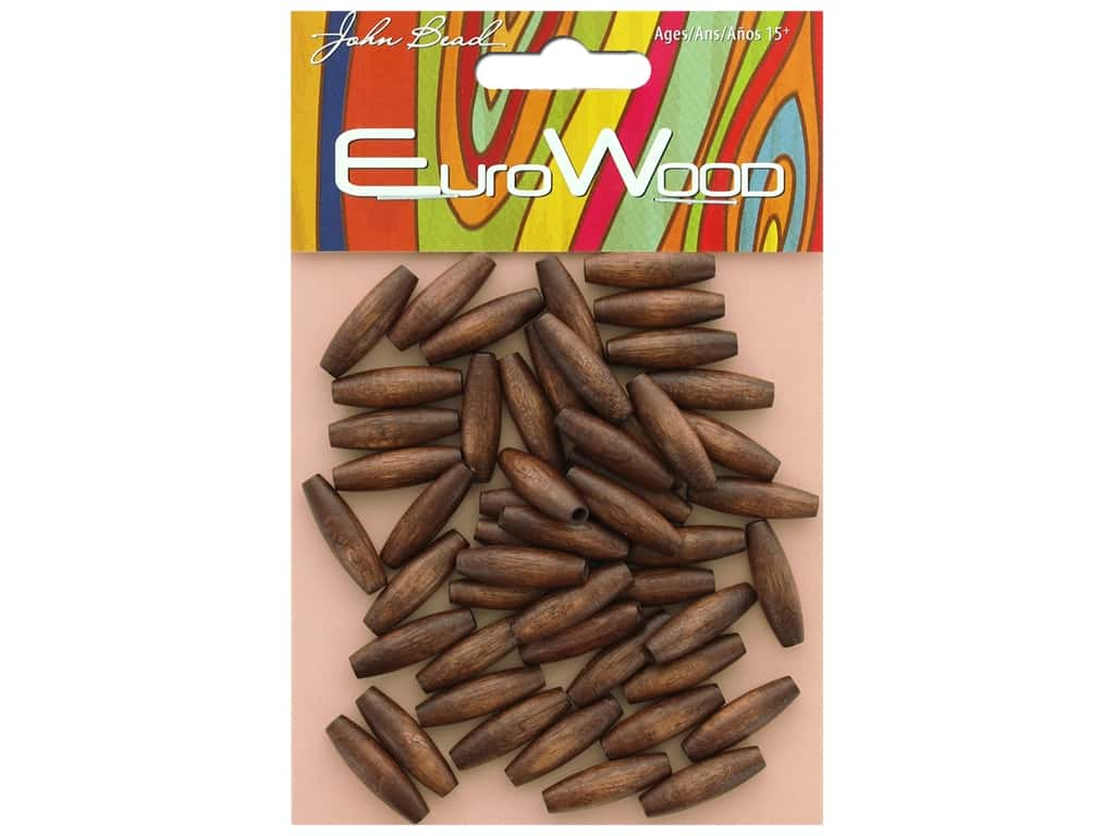 John Bead Wood Bead Spaghetti 6 mm x 20 mm Dark Brown