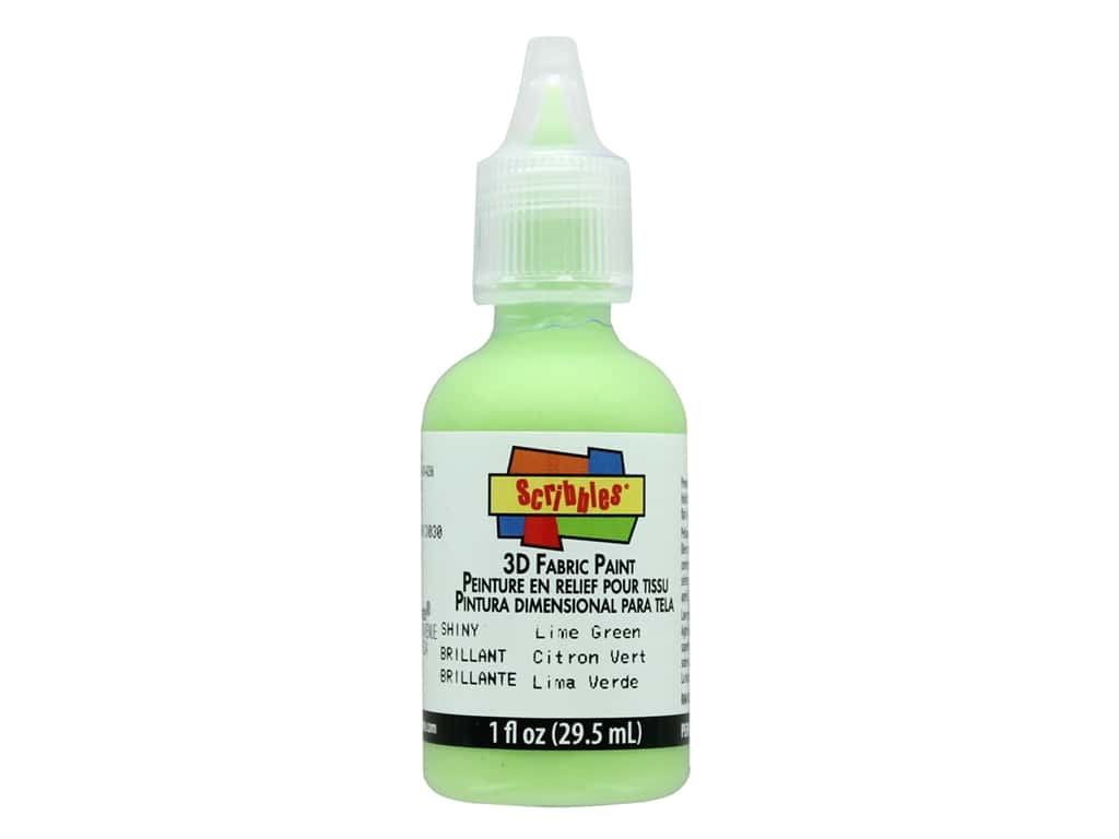 Scribbles 3D Fabric Paint 1 oz. Shiny Lime Green