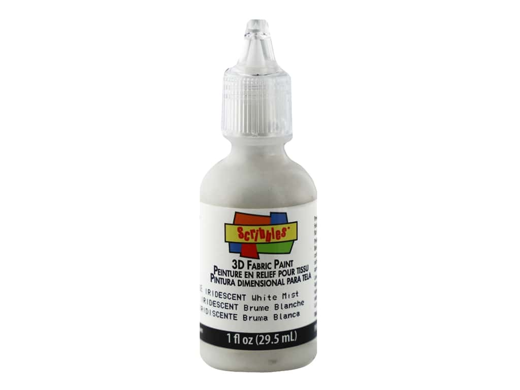Scribbles 3D Fabric Paint 1 oz. Iridescent White Mist