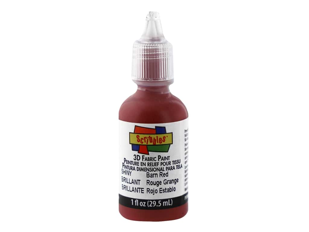 Scribbles 3D Fabric Paint 1 oz. Shiny Barn Red