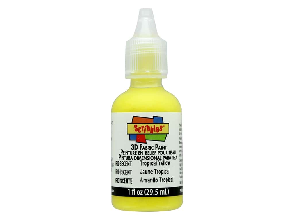 Scribbles 3D Fabric Paint 1 oz. Iridescent Tropical Yellow