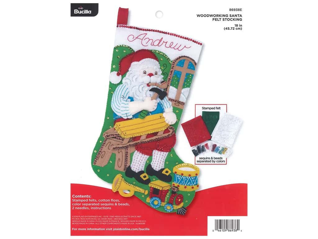 Bucilla Felt Kit Stocking 18 in. Woodworking Santa
