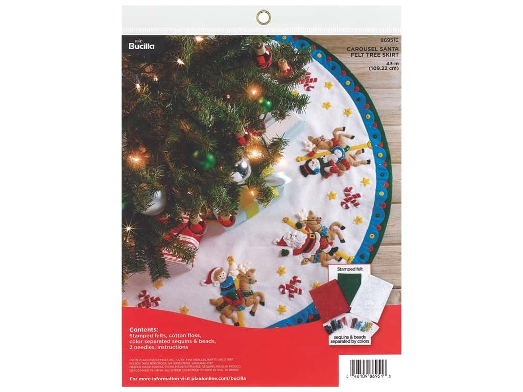 Bucilla Felt Tree Skirt Kit - Carousel Santa