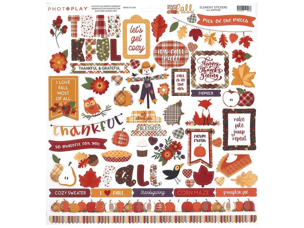 Photo Play Collection Mad 4 Plaid Fall Sticker Element 12 in. x 12 in. (12 pieces)