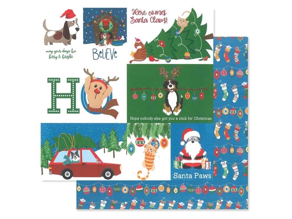 Photo Play 12 x 12 in. Paper Muttcracker Santa Paws (25 pieces)