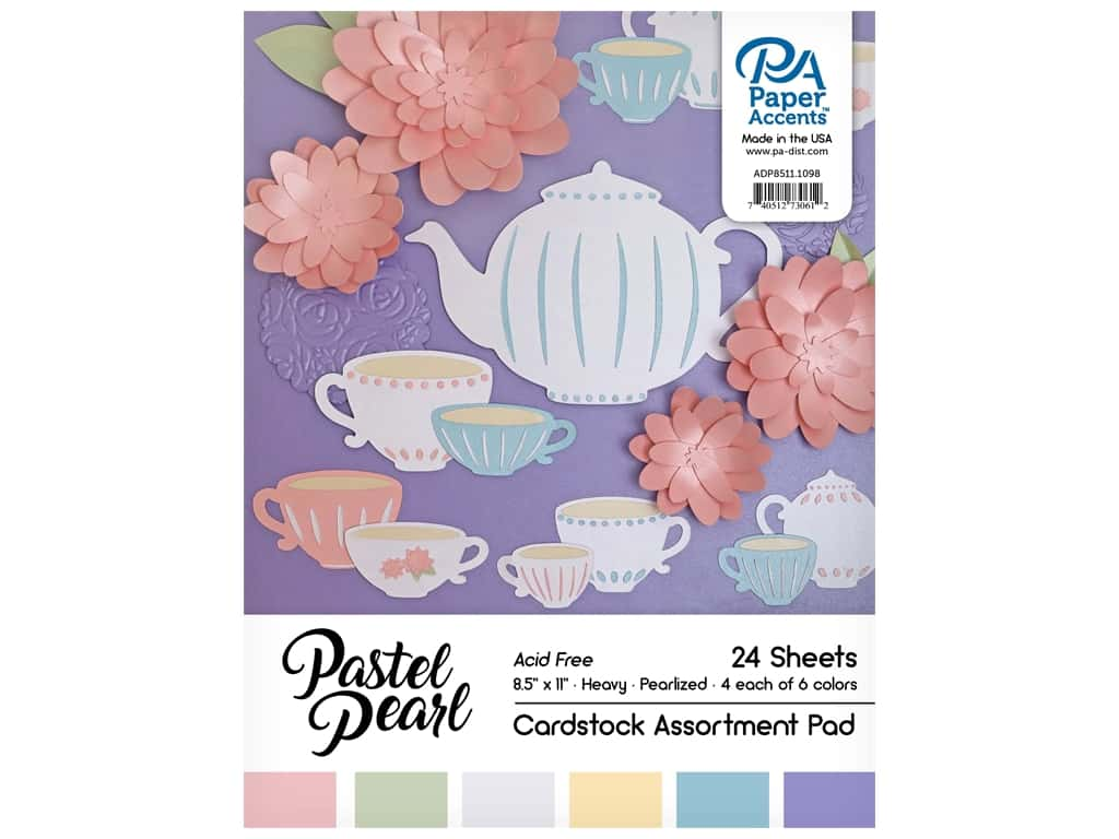 Paper Accents 8 1/2 x 11 in. Cardstock Pad 24 pc. Pearlized Pastels