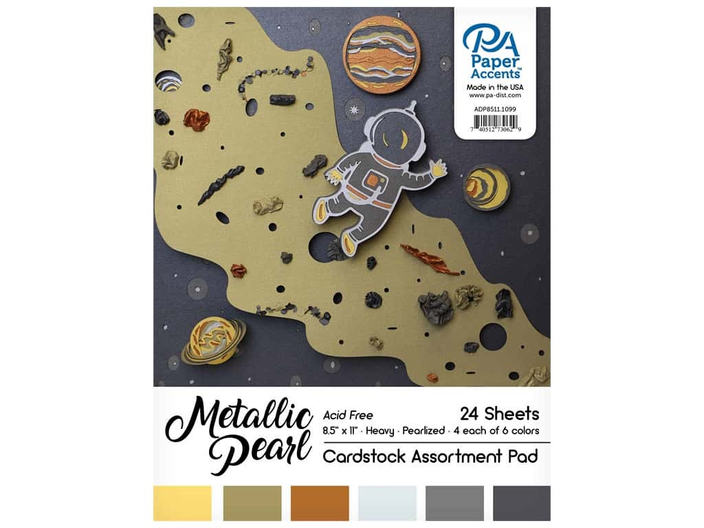 Paper Accents 8 1/2 x 11 in. Cardstock Pad 24 pc. Pearlized Metallics