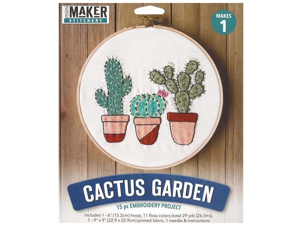 Leisure Arts Mini Maker Kit Embroidery 6 in. Cactus Garden