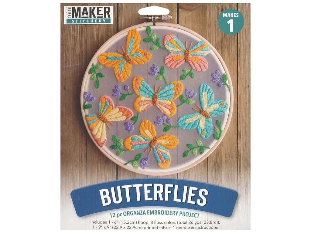 "Leisure Arts Mini Maker Kit Embroidery 6"" Organza Butterflies"