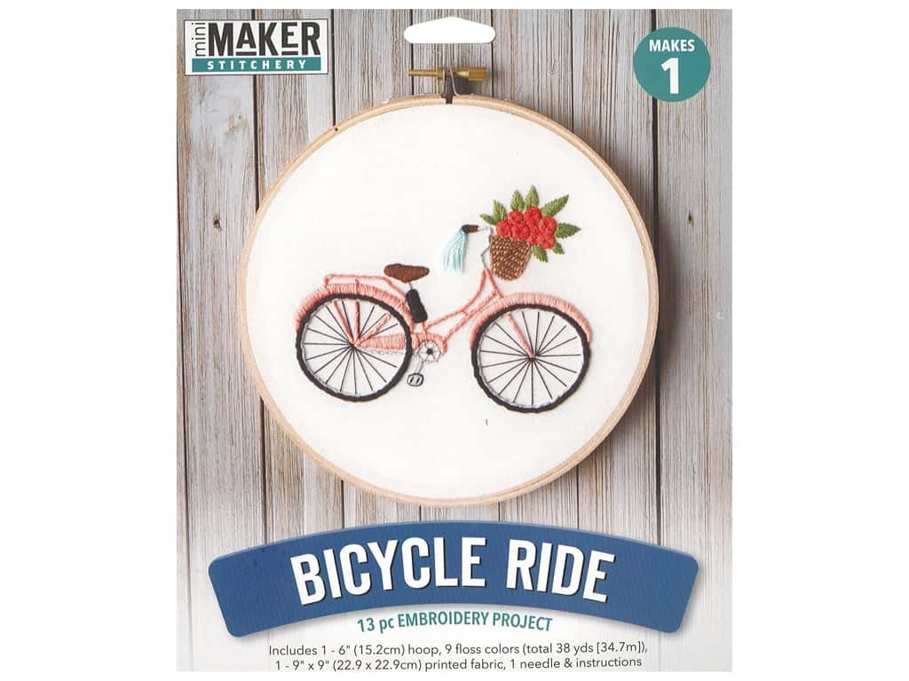 Leisure Arts Mini Maker Embroidery Project 6 in. Bicycle Ride