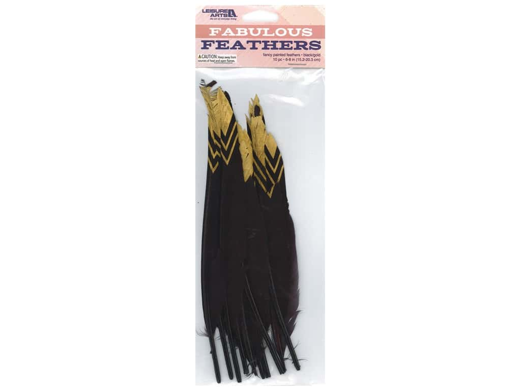 Leisure Arts Feathers Painted Black/Gold 10 pc