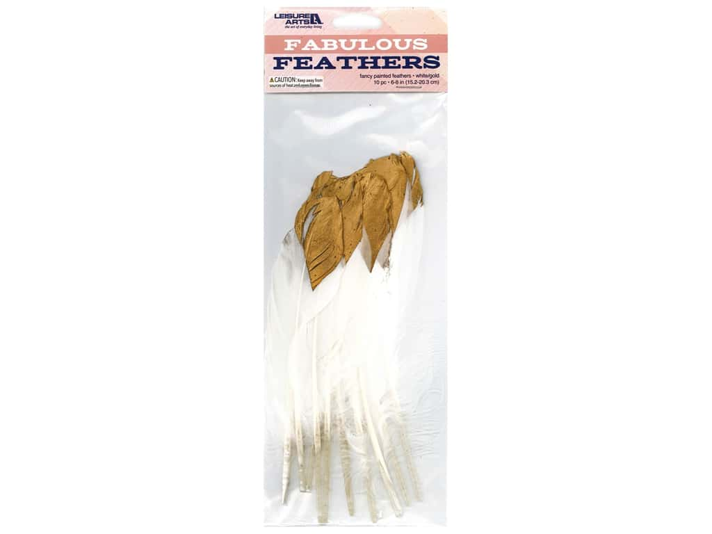 Leisure Arts Feathers Painted White/Gold 10 pc