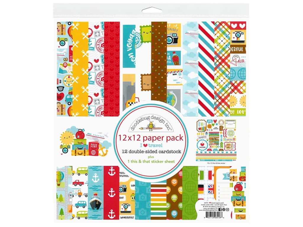 Doodlebug Collection I Heart Travel Paper Pack 12 in. x 12 in.