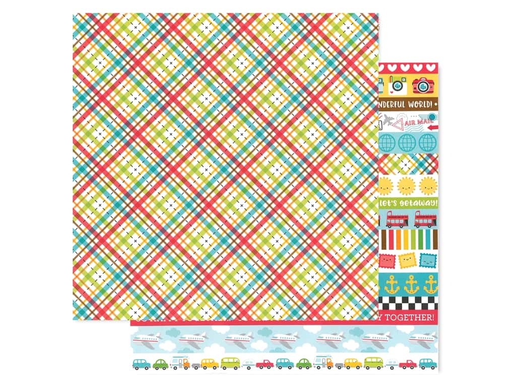 Doodlebug Collection I Heart Travel Paper 12 in. x 12 in. Plaid To Be Here (25 pieces)