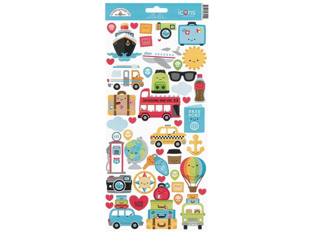 Doodlebug Collection I Heart Travel Sticker Icons (12 sets)