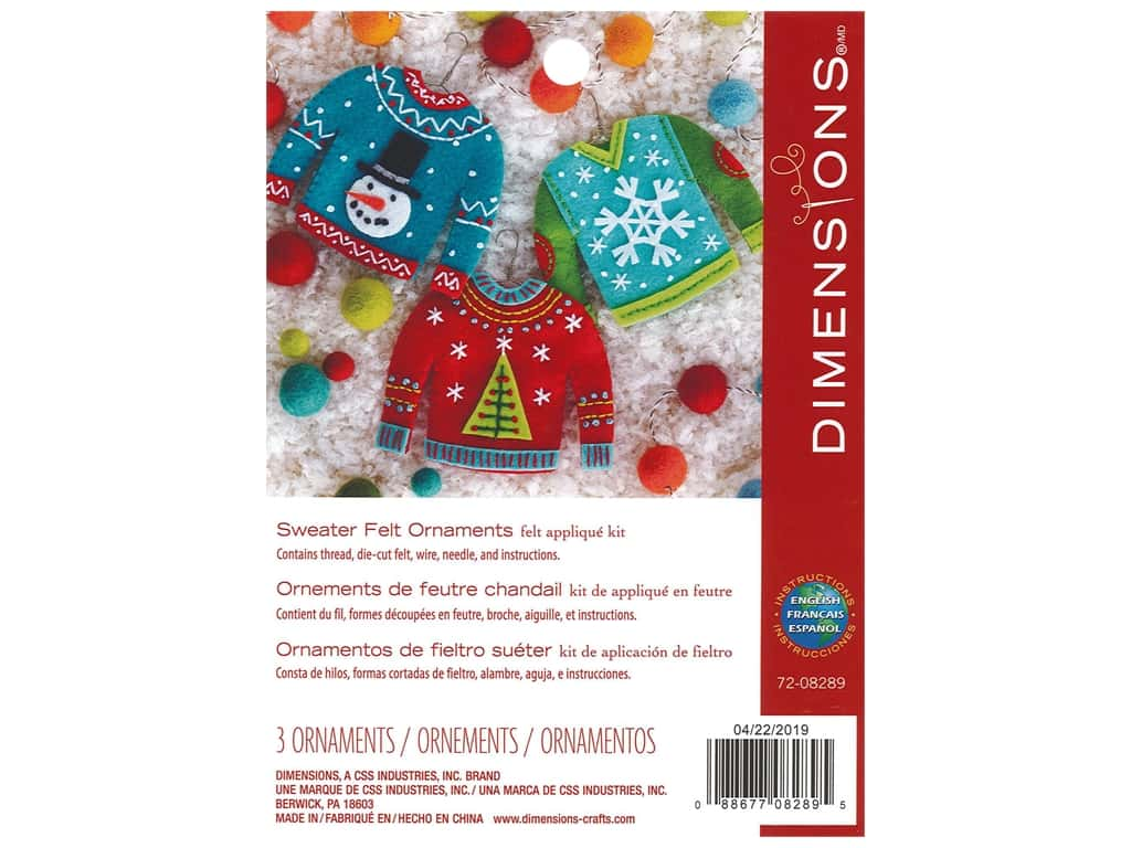 Dimensions Applique Kit Felt Sweater Ornaments