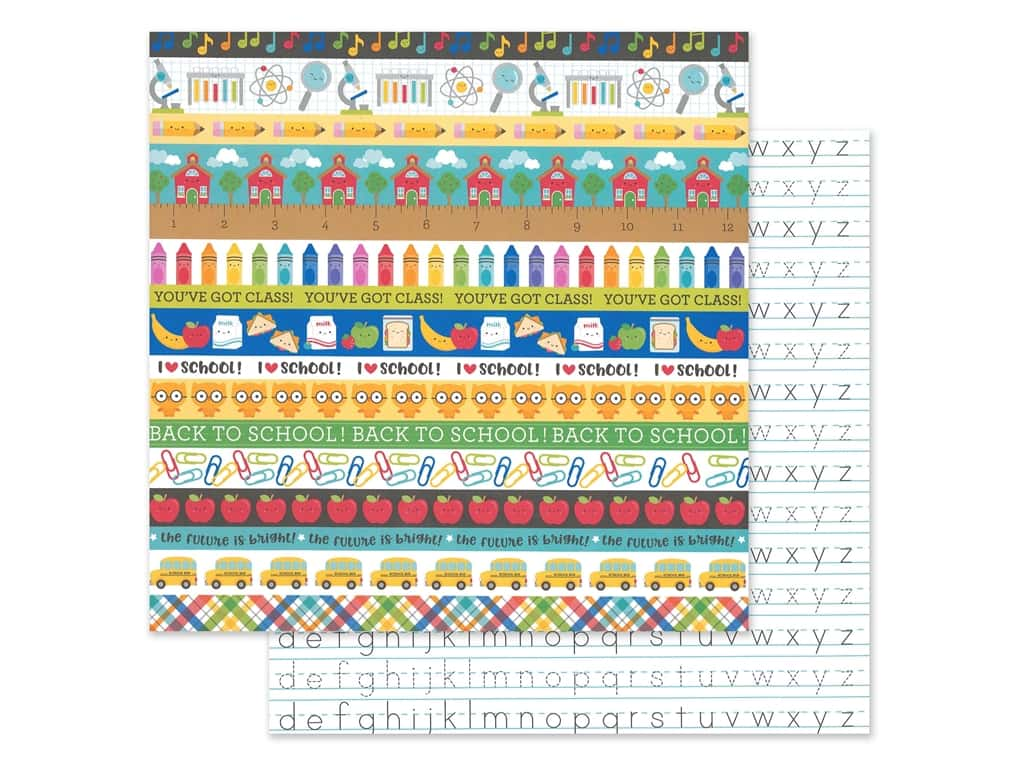 Doodlebug Collection School Days Paper 12 in. x 12 in. Just Write (25 pieces)