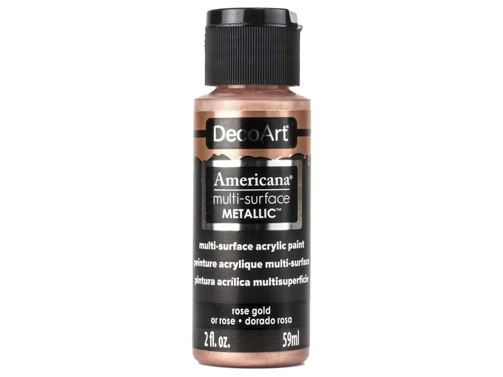 DecoArt Americana Multi Surface Acrylic Paint 2 oz Metallic Rose Gold