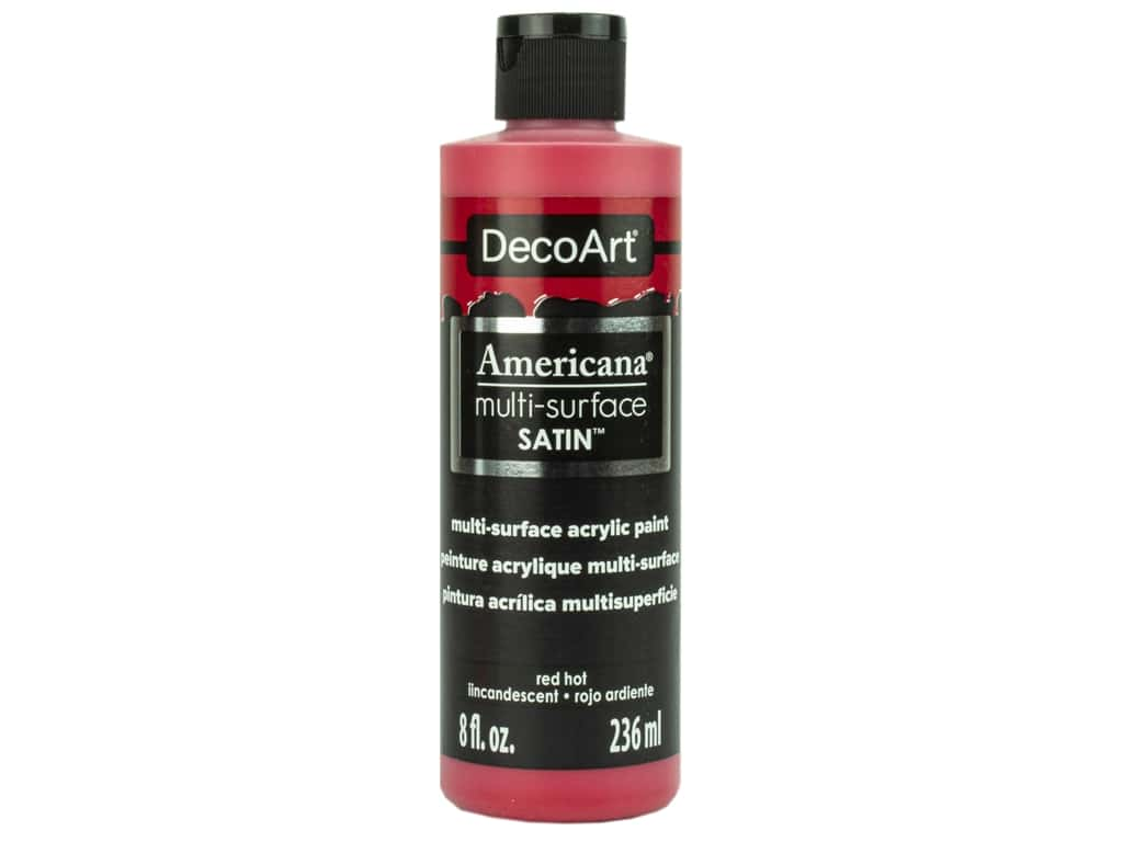 DecoArt Americana Multi Surface Acrylic Paint 8 oz Satin Red Hot