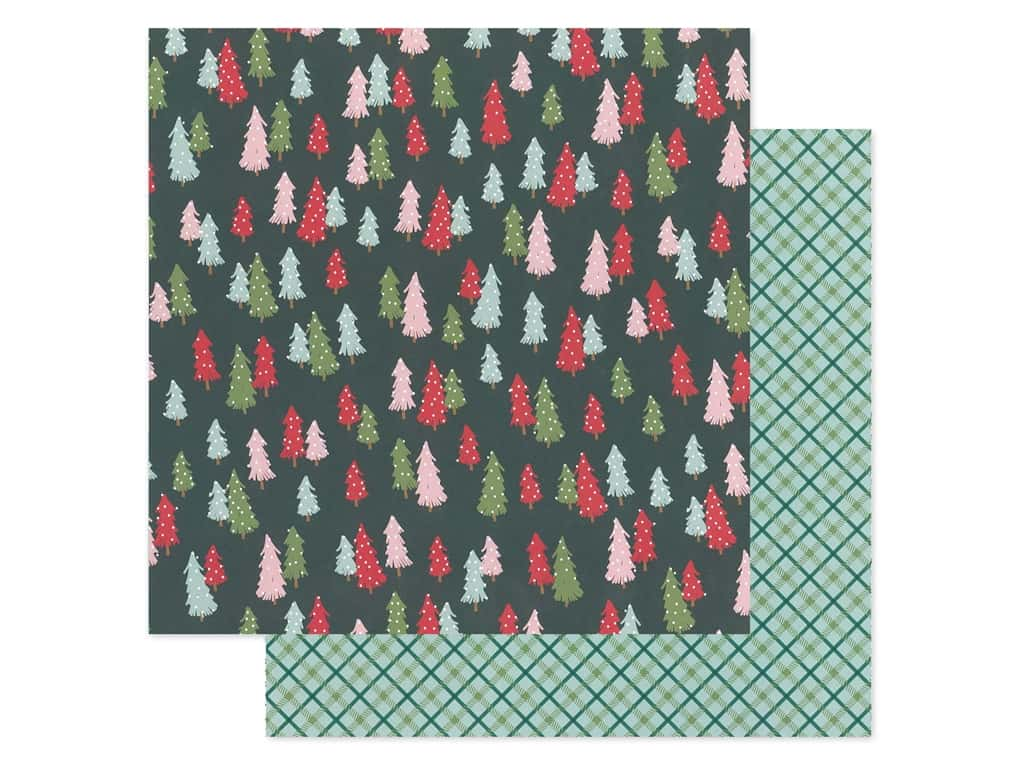 Pebbles Collection Merry Little Christmas Paper 12 in. x 12 in. Oh Christmas Tree (25 pieces)