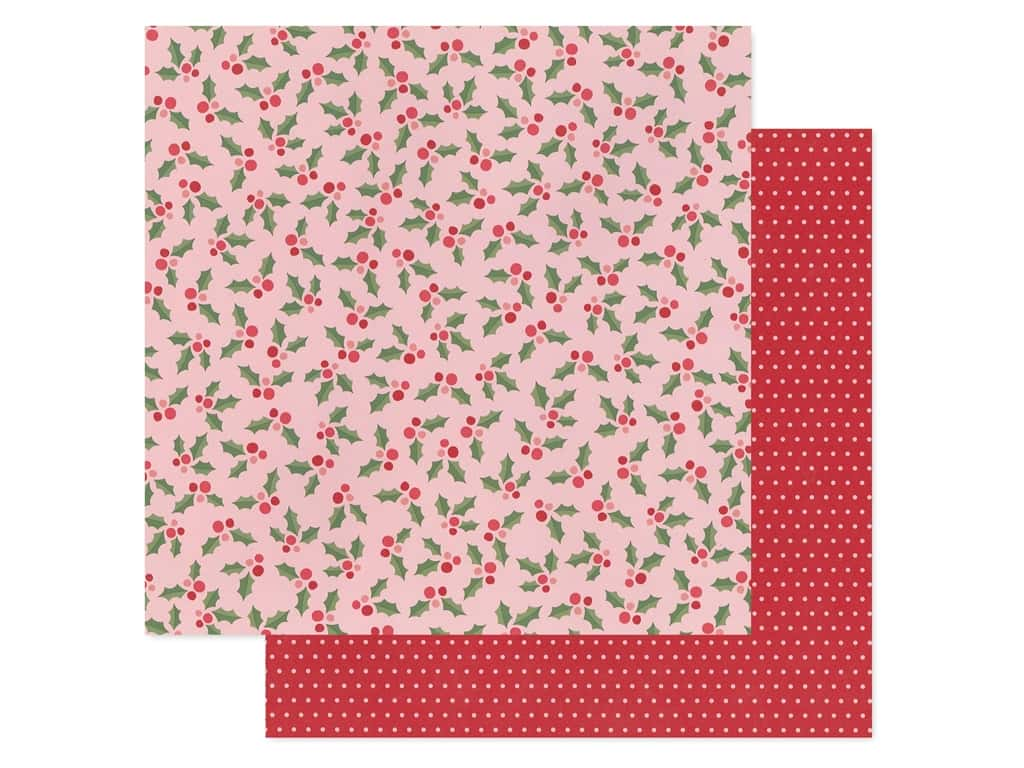 Pebbles Collection Merry Little Christmas Paper 12 in. x 12 in. Jolly Holly (25 pieces)
