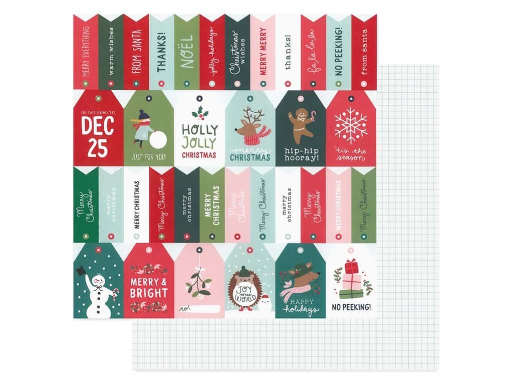 Pebbles Collection Merry Little Christmas Paper 12 in. x 12 in. Just For You (25 pieces)