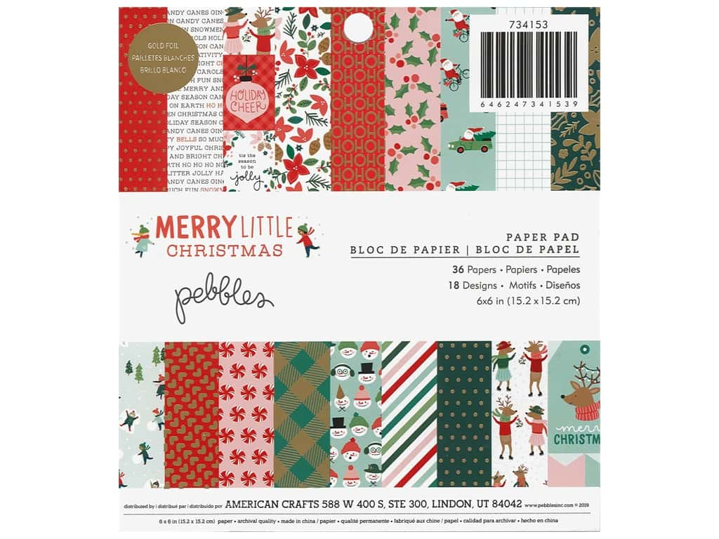 Pebbles Collection Merry Little Christmas Paper Pad 6 in. x 6 in. Foil Gold