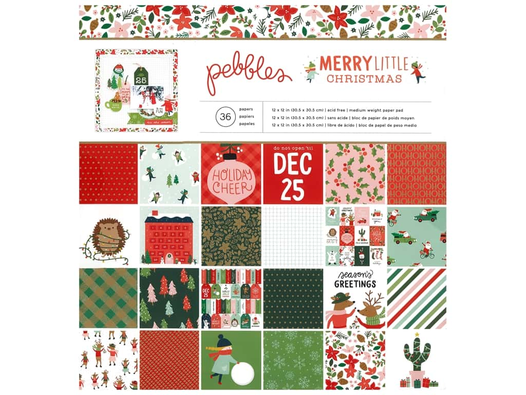 Pebbles Collection Merry Little Christmas Paper Pad 12 in. x 12 in. Foil Gold