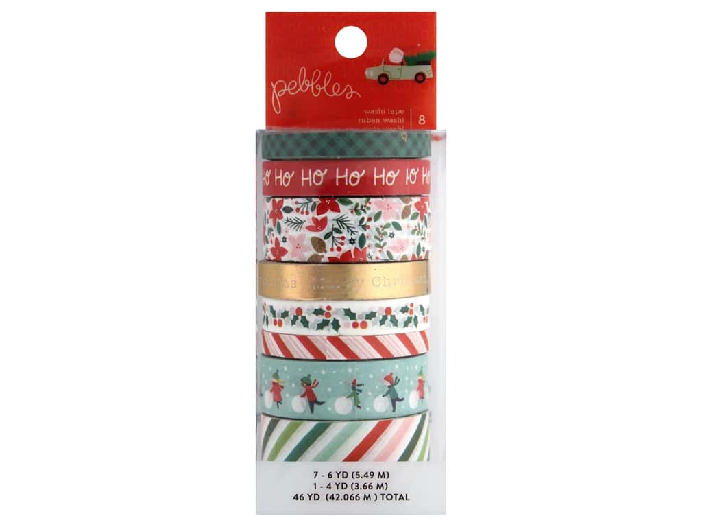 Pebbles Collection Merry Little Christmas Washi Tape Set Foil Gold