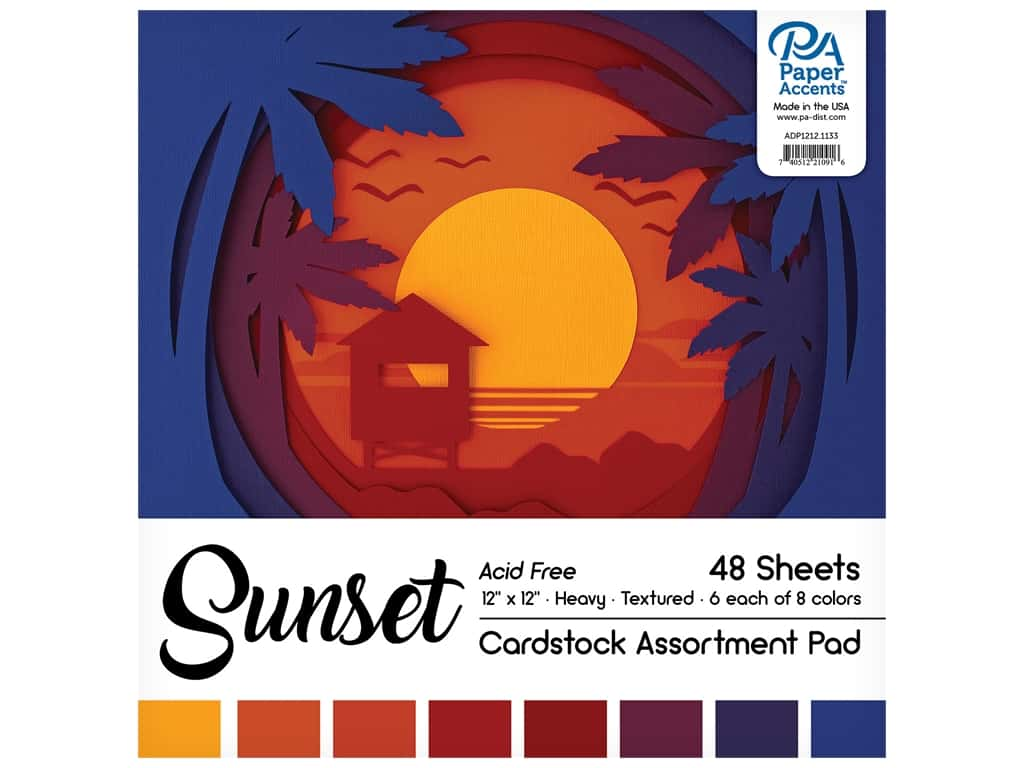 Paper Accents 12 x 12 in. Cardstock Pad 48 pc. Sunset