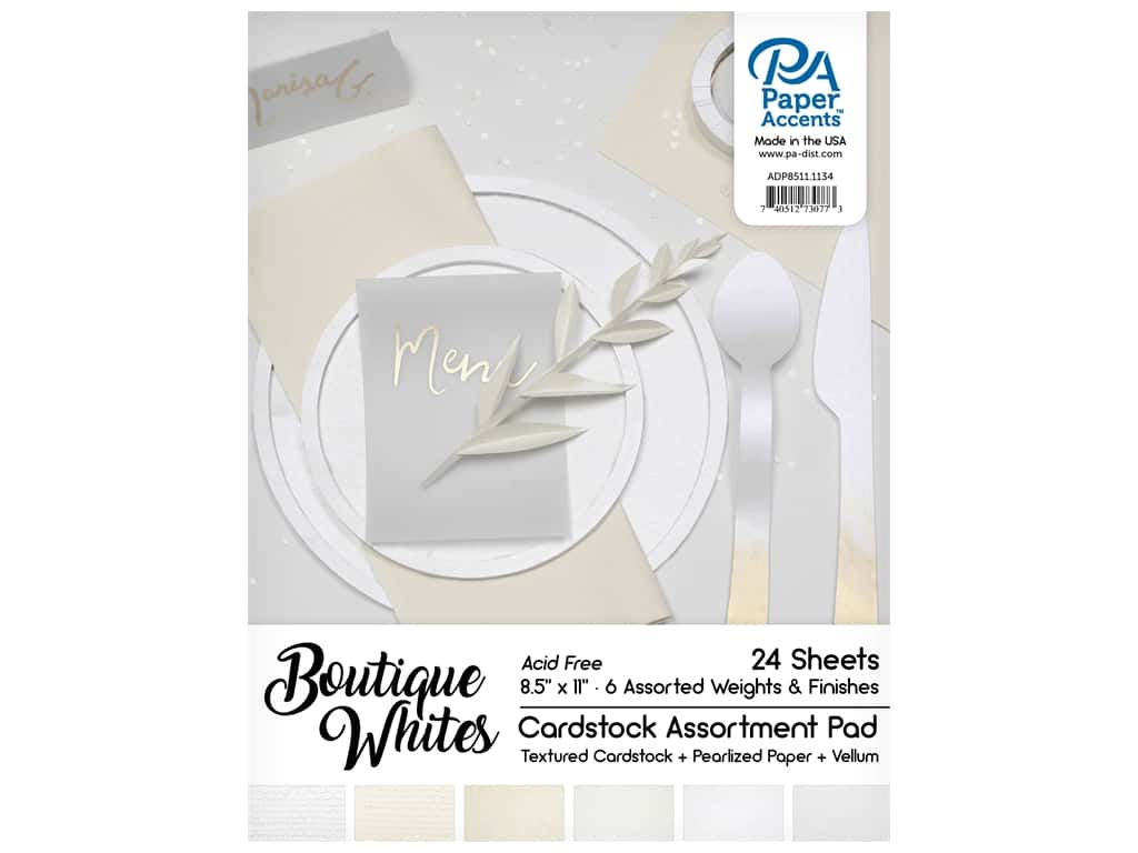 Paper Accents 8 1/2 x 11 in. Cardstock Pad 24 pc. Boutique Whites