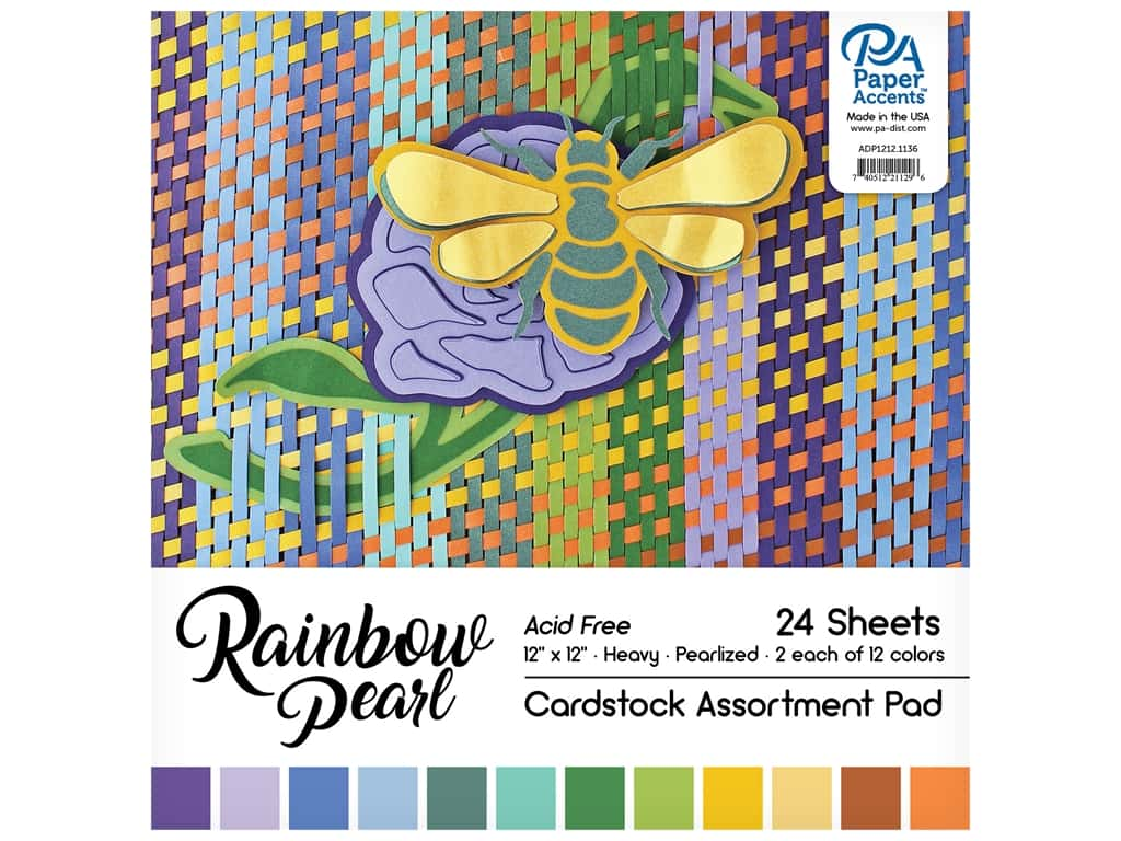 Paper Accents Cardstock Pad 12 in. x 12 in. Rainbow Pearlized Assortment 24 pc