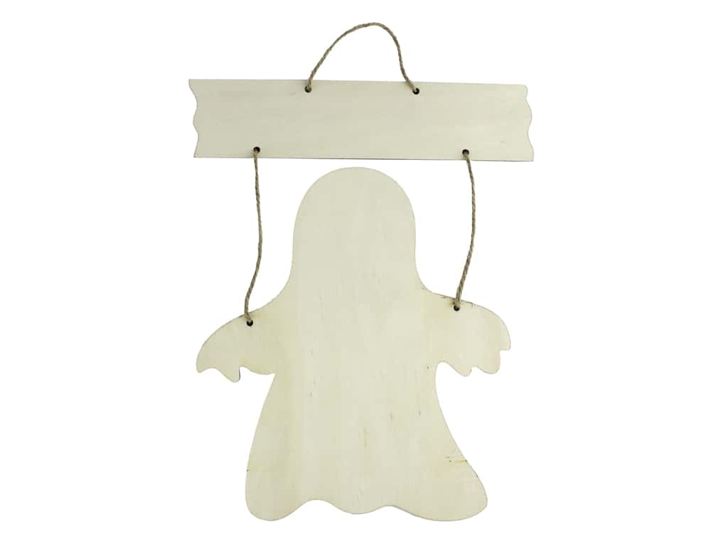 Darice Wood Halloween Sign Hanging Ghost