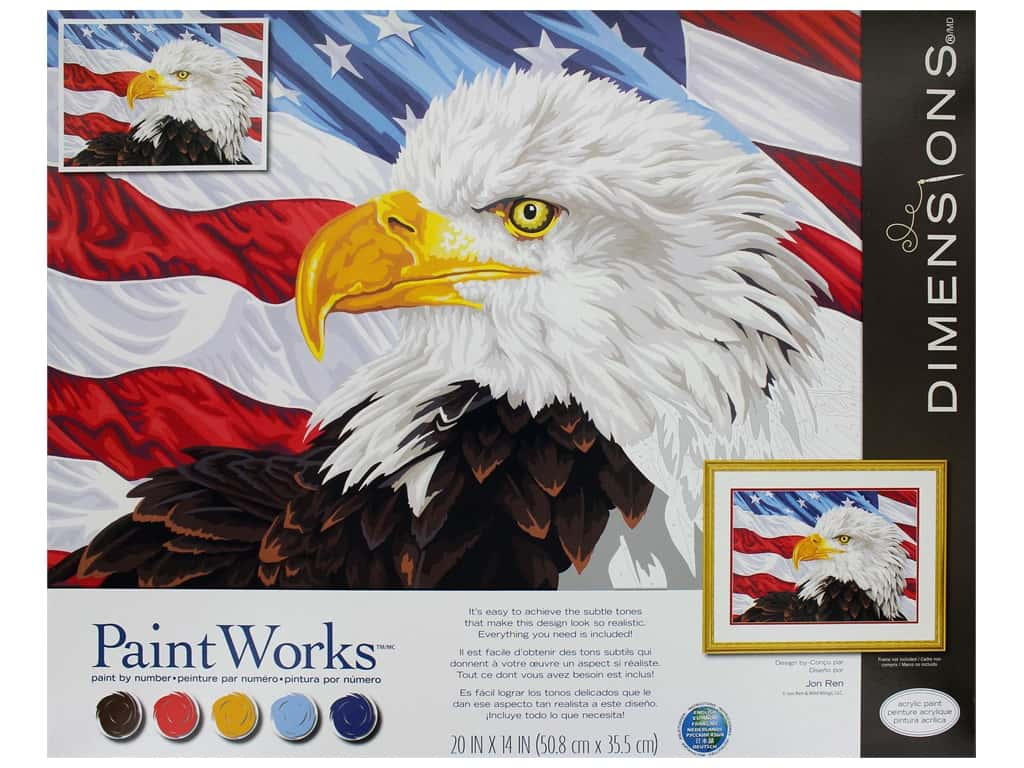 Paint Works Paint By Number Kit 20 in. x 14 in. Bald Eagle