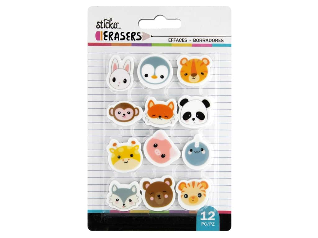 American Crafts Tools Sticko Erasers Animal Heads Small 12 pc