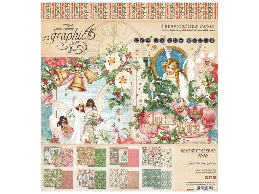 Graphic 45 Collection Joy To The World Paper Pad 8 in. x 8 in.