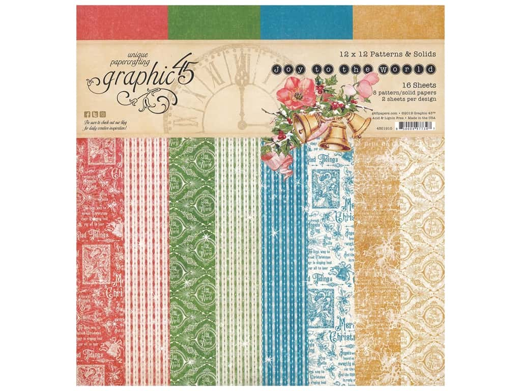 Graphic 45 Collection Joy To The World Paper Pad Solid