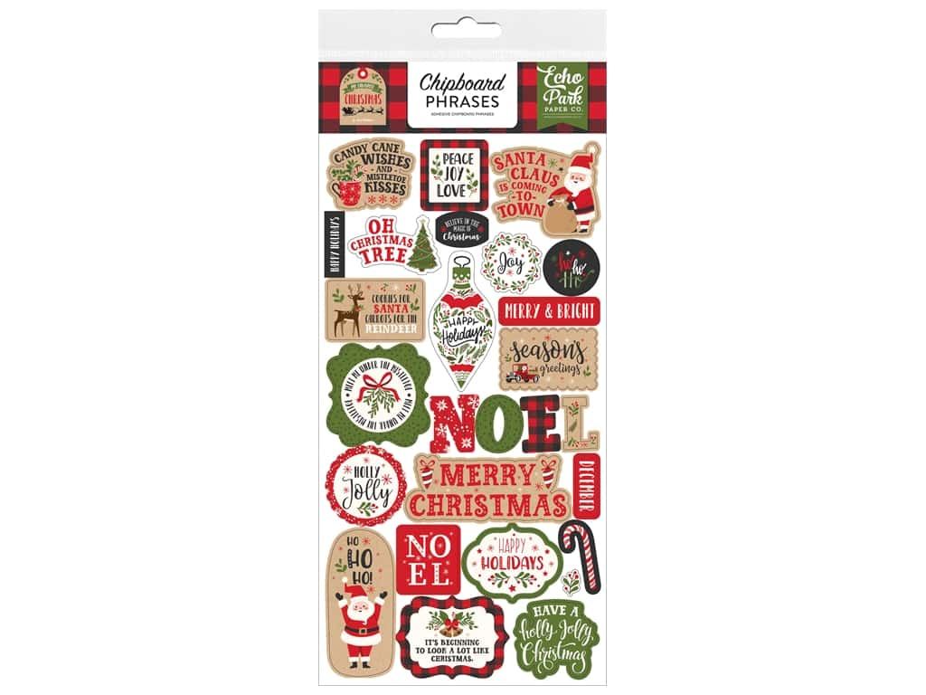 Echo Park Collection My Favorite Christmas Chipboard 6 in. x 12 in. Phrases
