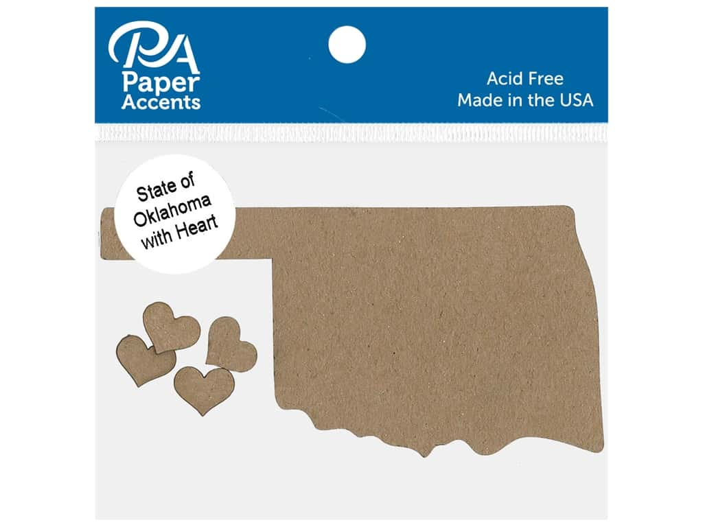 Paper Accents Chip Shape State of Oklahoma With Heart Natural 4 pc