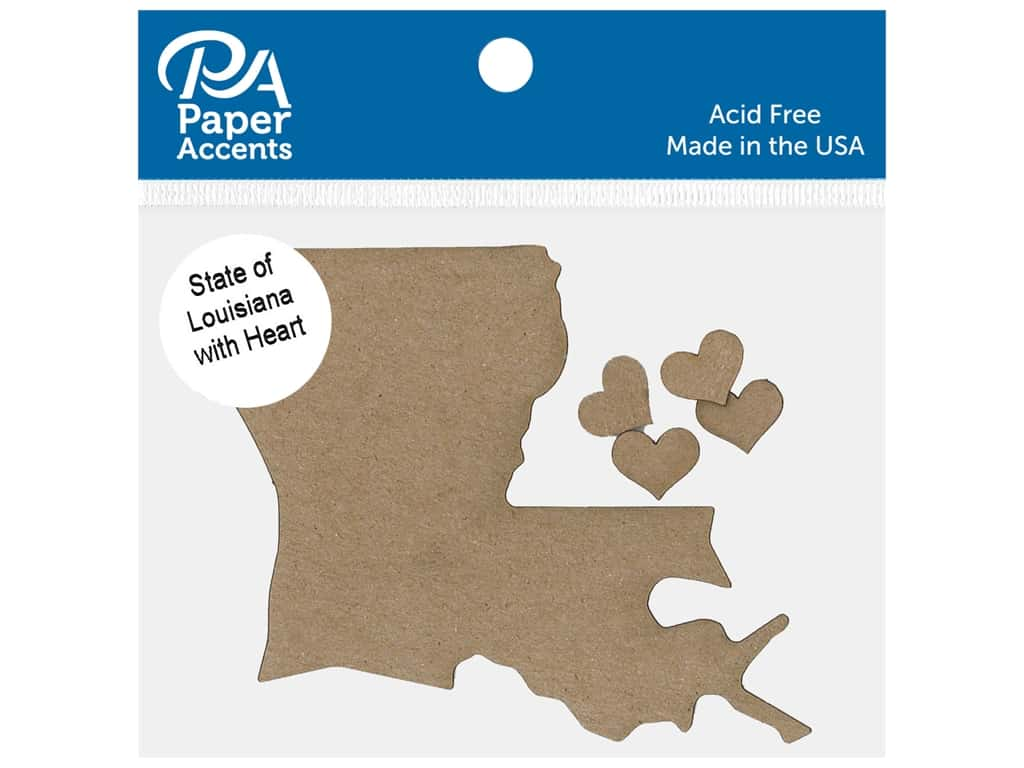 Paper Accents Chip Shape State of Louisiana With Heart Natural 4 pc