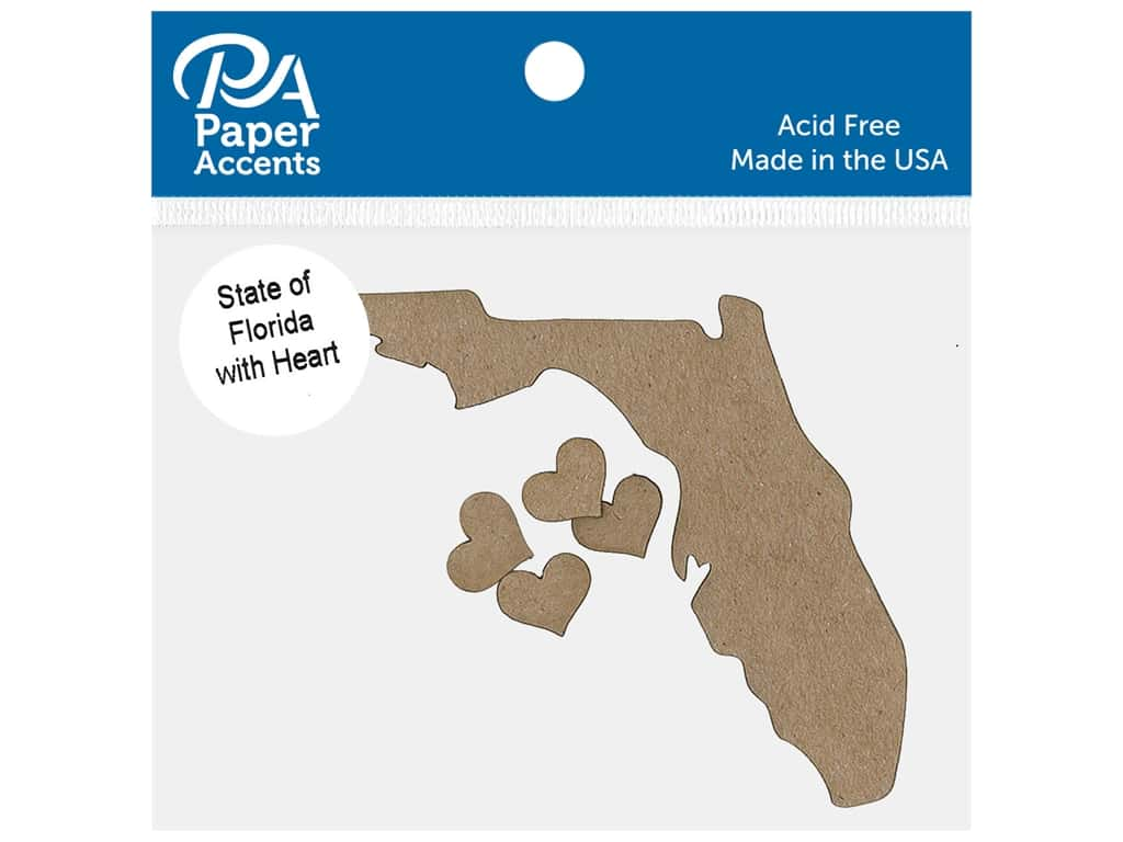 Paper Accents Chip Shape State of Florida With Heart Natural 4 pc