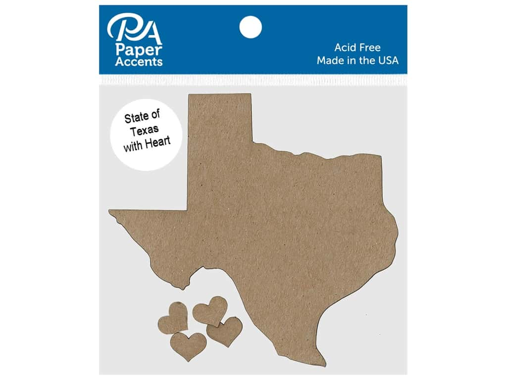 Paper Accents Chip Shape State of Texas With Heart Natural 4 pc