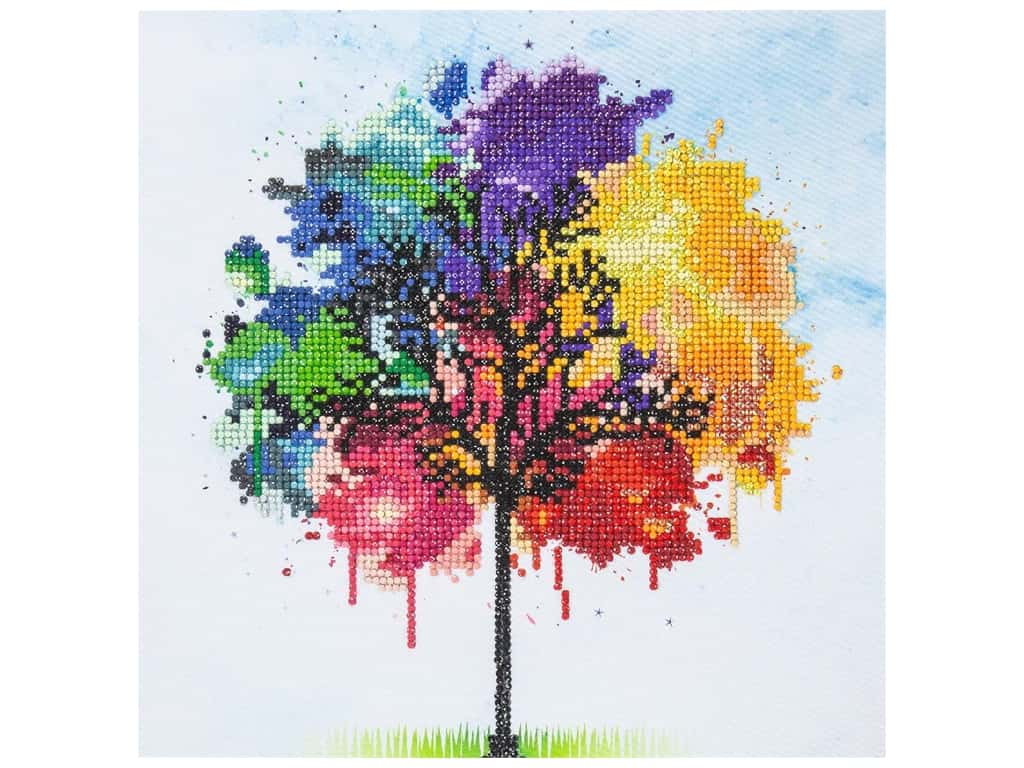 Diamond Art Kit 12 in. x 12 in. Intermediate Rainbow Tree