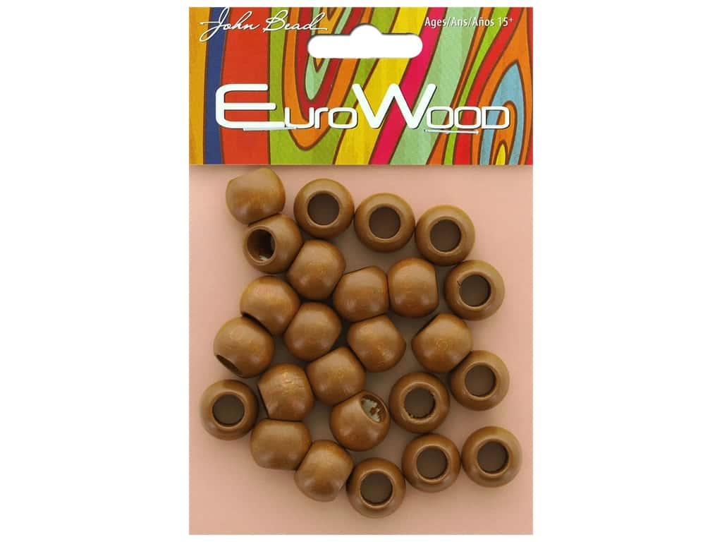 John Bead Wood Bead Round Large Hole 14 mm x 11 mm Coffee
