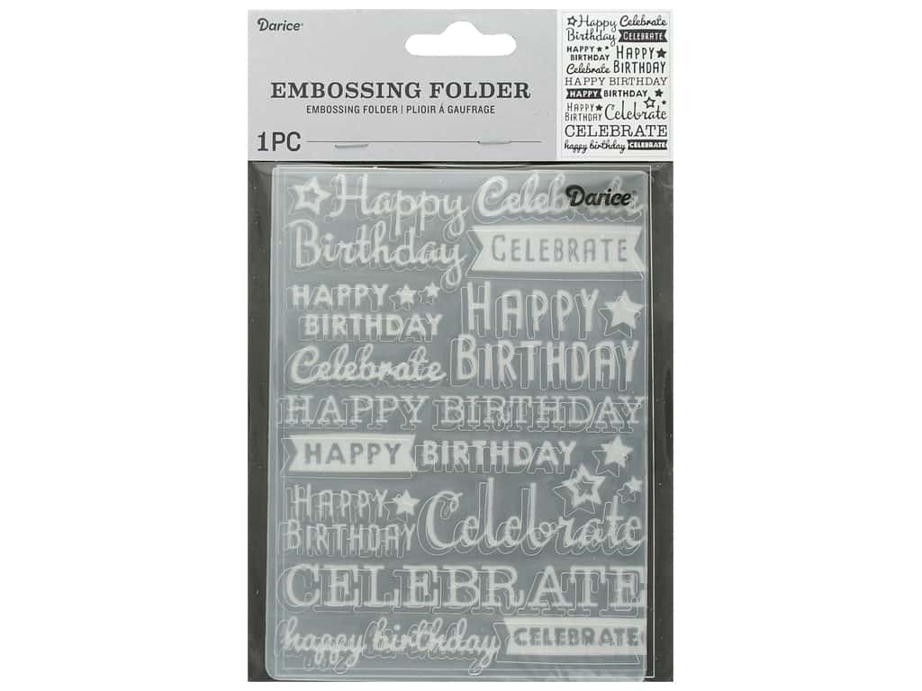 Darice Embossing Folder Happy Birthday Celebrate